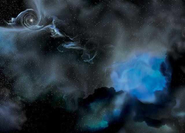 Čierna diera (vľavo hore) a jej hviezdny súputník (vpravo) obiehajú okolo spoločného gravitačného centra.