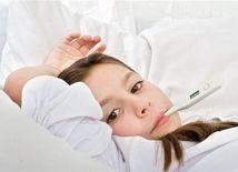 chrípka - dieťa s teplomerom
