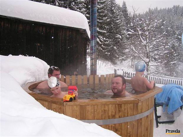 kúpanie, sneh, zima