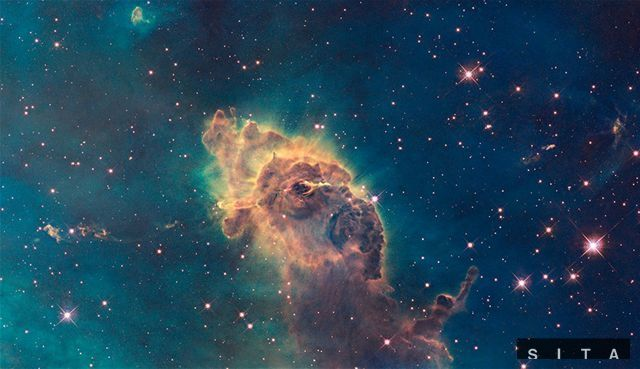 Zrod hviezdy zachytený Hubblovým teleskopom.