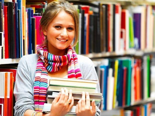 študent, kniha, dievča, knižnica