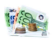 euro, bankovky, peniaze, mince