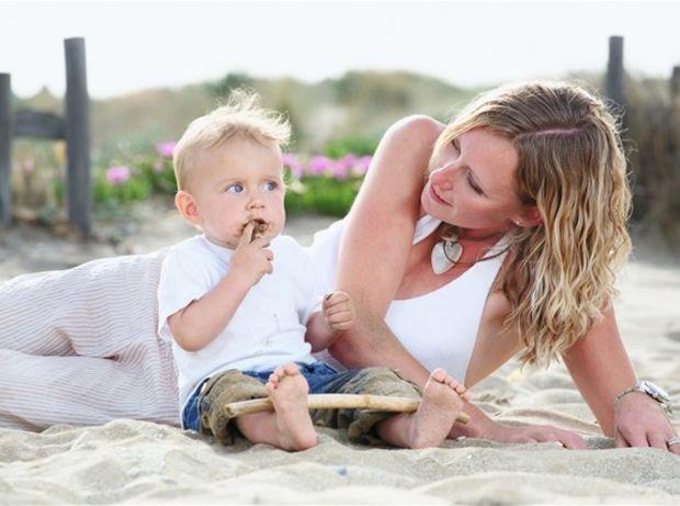 dieťa, rodina, matka, mama, pláž,