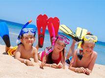 more, deti, pláž, dovolenka, leto, plutvy, potápanie