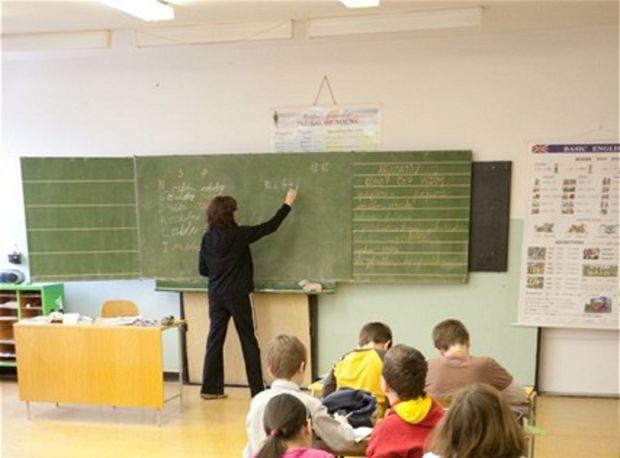 angličtina, škola, žiaci, učenie, trieda, učiteľka