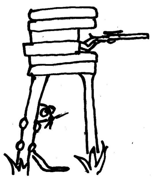 Pĺšik na planine pri posiedke, zo strielne vytŕča puška.