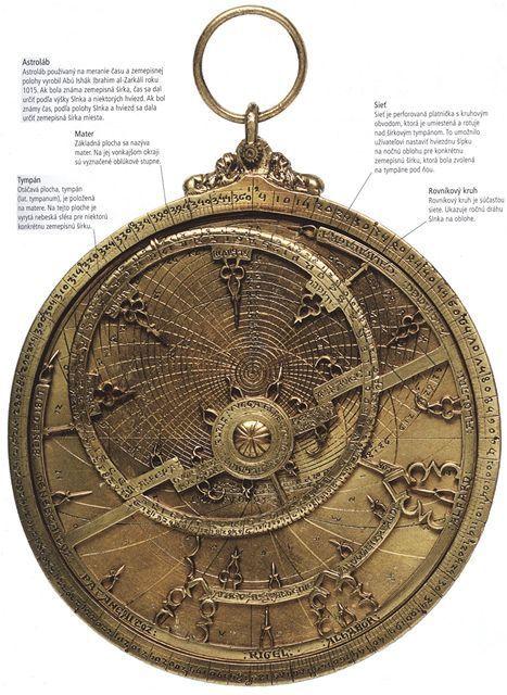Astroláb používaný na meranie času a zemepisnej polohy vyrobil Abú Ishák Ibrahim al-Zarkálí roku 1015. Ak bola známa zemepisná šírka, čas sa dal určiť podľa výšky Slnka a niektorých hviezd. Ak bol známy čas, podľa polohy Slnka a hviezd sa dala určiť zemepisná šírka miesta.