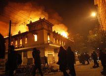 Atény, protesty, demonštrácie, kríza, požiar, oheň