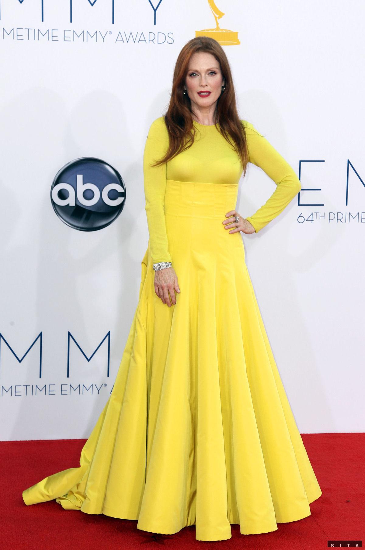 Herečka Julianne Moore si na galavečer obliekla róbu z kolekcie haute couture značky Dior.