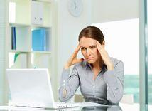 hlava, bolesť, migréna, počítač, práca