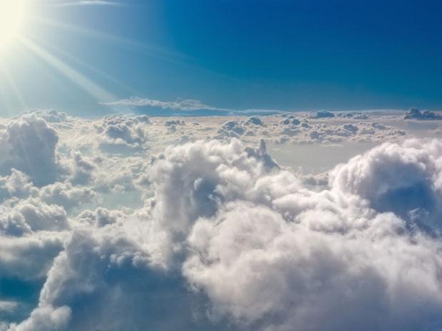 oblaky, lietadlo