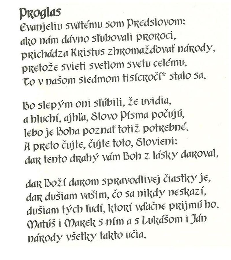 Prvá báseň v staroslovienčine sa nazýva Proglas.