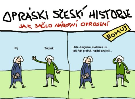 Postava z českého obrodenia Josef Jungmann v satirickom komikse Oprási scečkí historje.