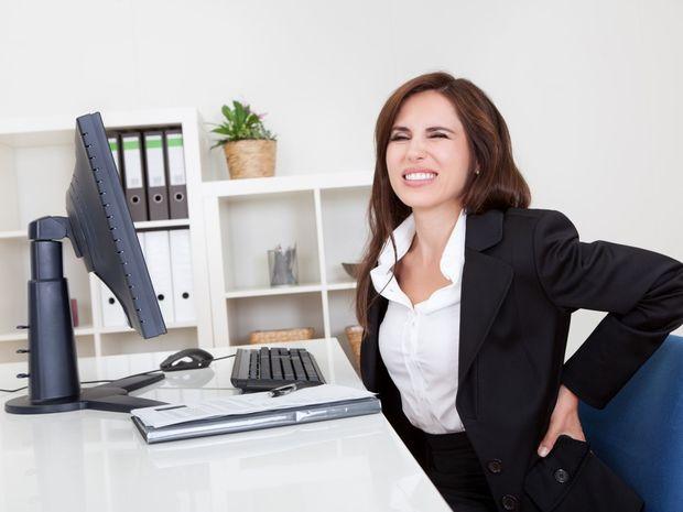 bolesť, chrbát, chrbtica, práca, kancelária, počítač