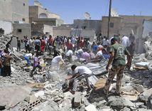 Sýria, Rakka, budovy, nálet