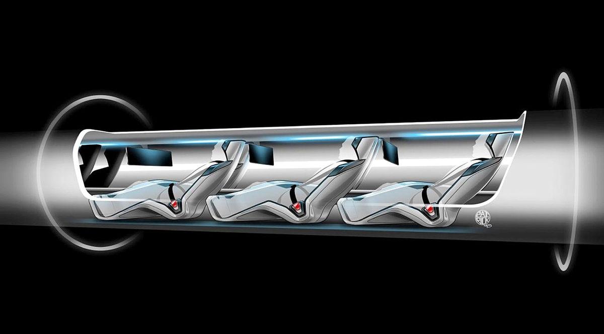 Náčrt podoby kapsule pre pasažierov dopravného systému Hyperloop.