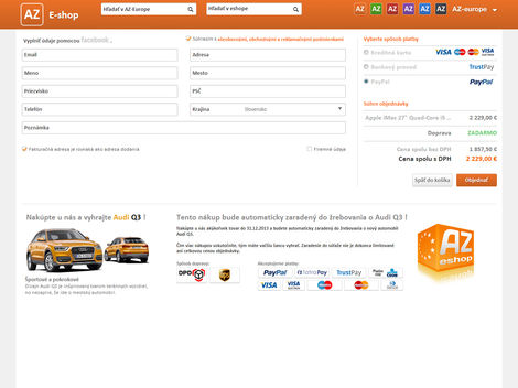 Nákupní košík internetového obchodu AZ-europe