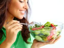 žena, šalát, diéta, strava, zelenina