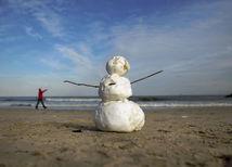 Virginia, pláž, snehuliak