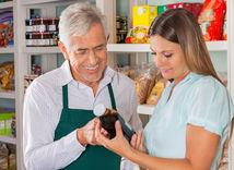pracujúci, dôchodca, predavač, nákup, obchod