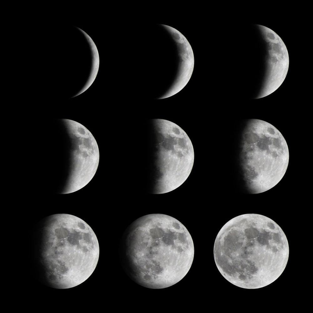 Jednotlivé fázy Mesiaca.