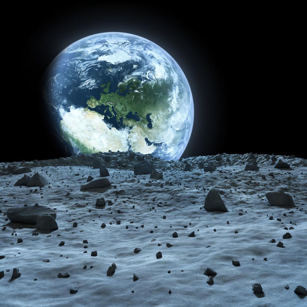 Pohľad na Zem z povrchu Mesiaca.