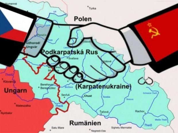 """,,Odstúpenie"""" Podkarpatskej Rusi Sovietskemu zväzu v dobovej tlači."""