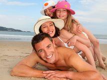 leto, pláž, dovolenka, rodina, more, klobúk