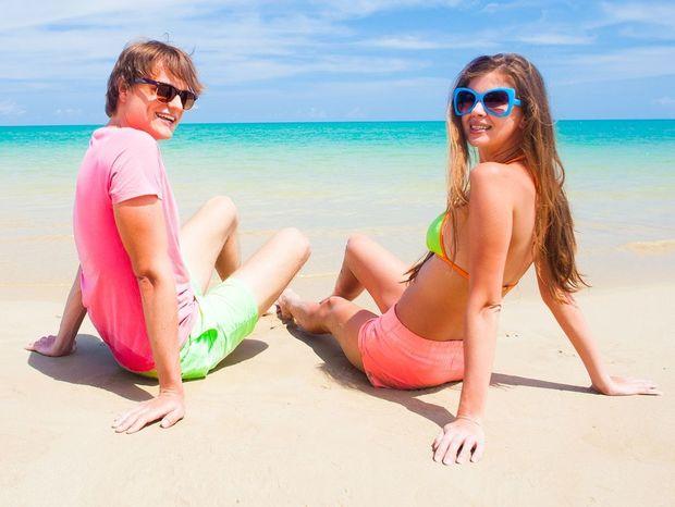 pláž, more, dovolenka, láska, pár,