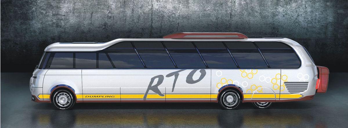 Zaujímavým prvkom je trojnápravový podvozok. Aby však koncept neprišiel o dlhý zadný previs, taký typický pre pôvodnú Škodu 706 RTO, sú kolesá tretej nápravy zakrytované.
