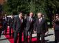 Na snímke zľava primátor Banskej Bystrice Peter Gogola, prezident SR Andrej Kiska a riaditeľ múzea SNP Stanislav Mičev prichádzajú na oslavy.