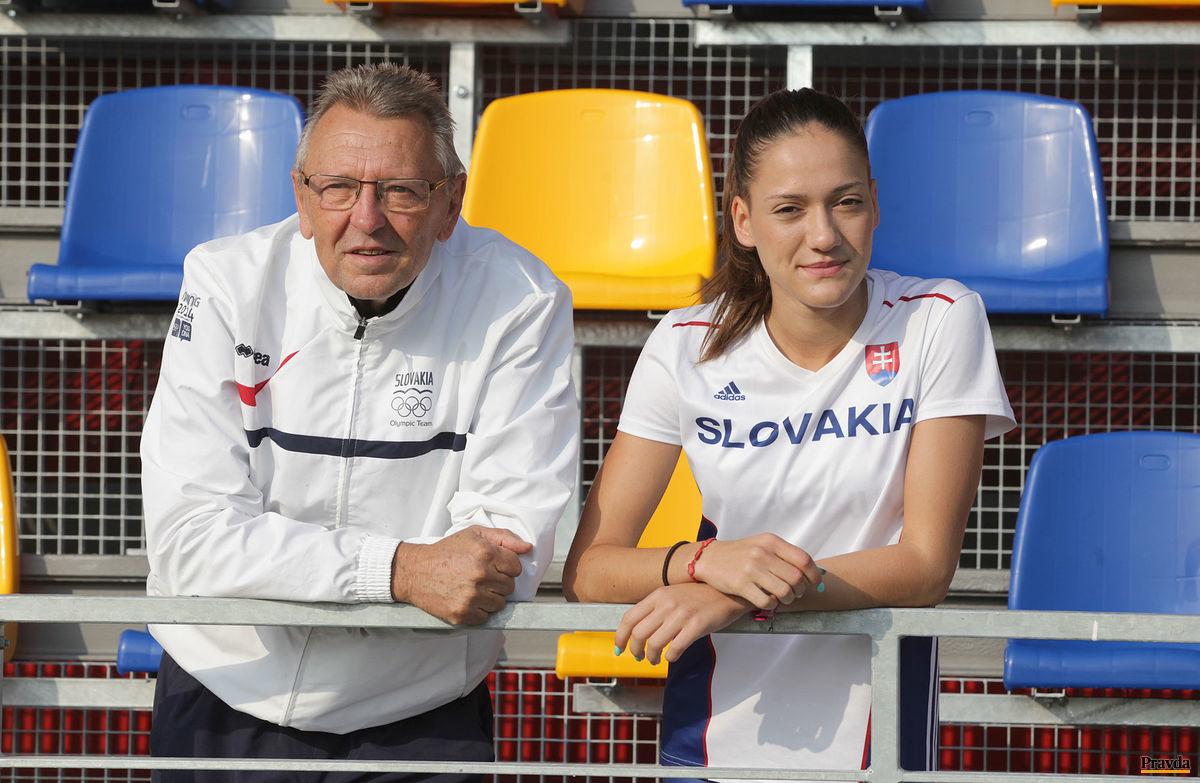 Michaela Pešková s trénerom Eduardom Čordášom.