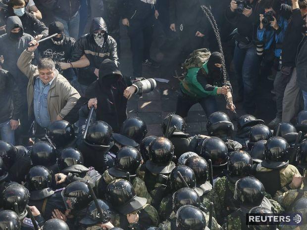 Ukrajina, Kyjev, demonštrácia