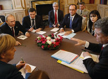 Merkelová, Porošenko, Putin, Hollande