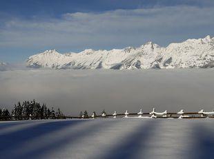 Rakúsko, Inntal valley, hmla, Alpy
