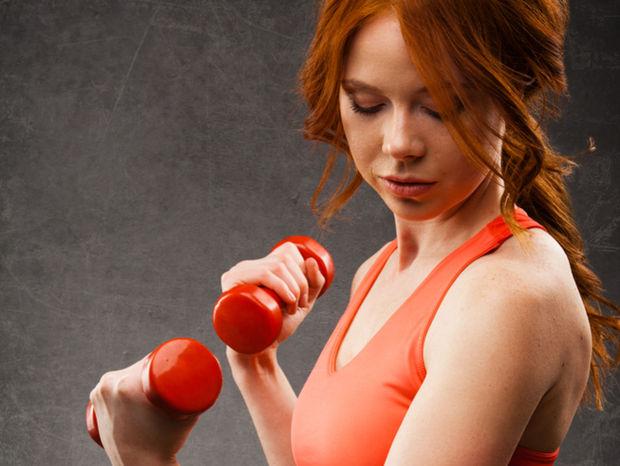 cvičiť, činky, fitnescentrum