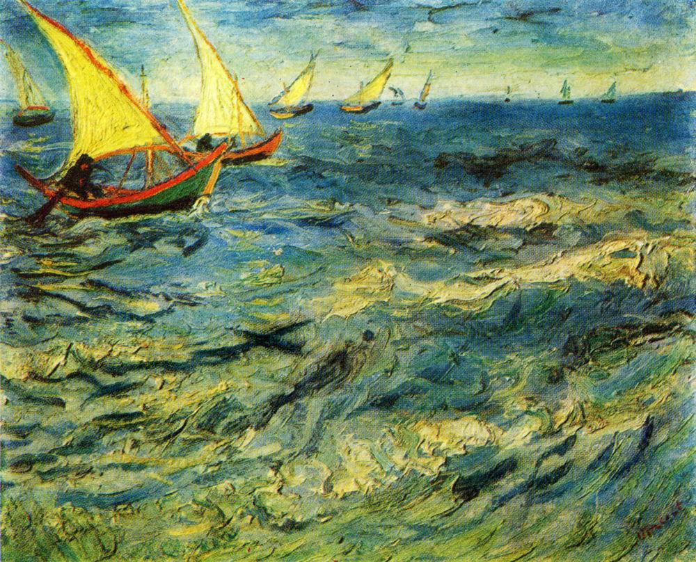 Dielo Vincenta Van Gogha (1853 - 1890) More v Saint-Marie z roku 1883 na reprodukcii zo starej pohľadnice. Diela Van Gogha patria k najčastejšie falšovaným obrazom.
