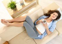 nohy, gauč, káva, relax, žily