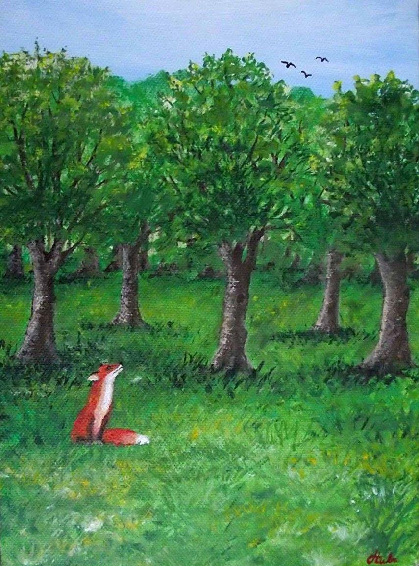 """Detail obrazu """"Deň"""" Akrylové farby na plátne, rozmer 20 x 50 cm."""