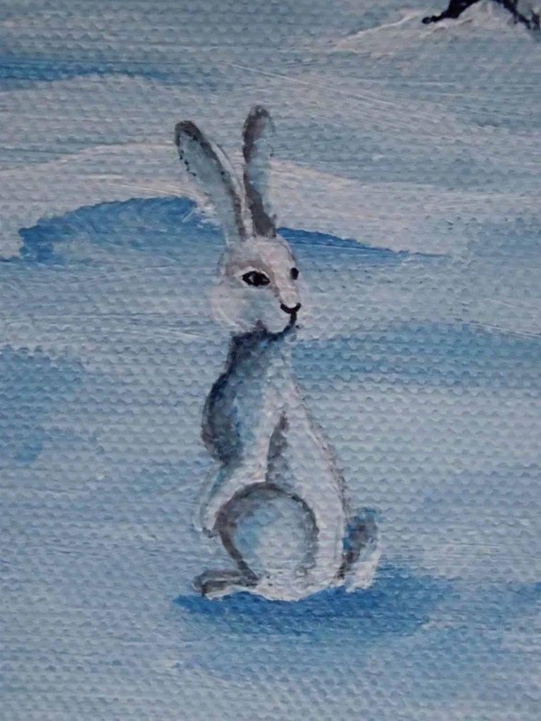 """Detail obrazu """"Noc"""". Akrylové farby na plátne, rozmer 20 x 50 cm."""