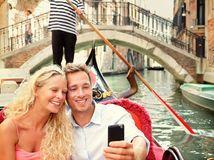Benátky, cestovanie, kanál, gondola, gondolier, pár, selfie, Taliansko,