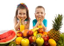 deti, ovocie, džús, šťava