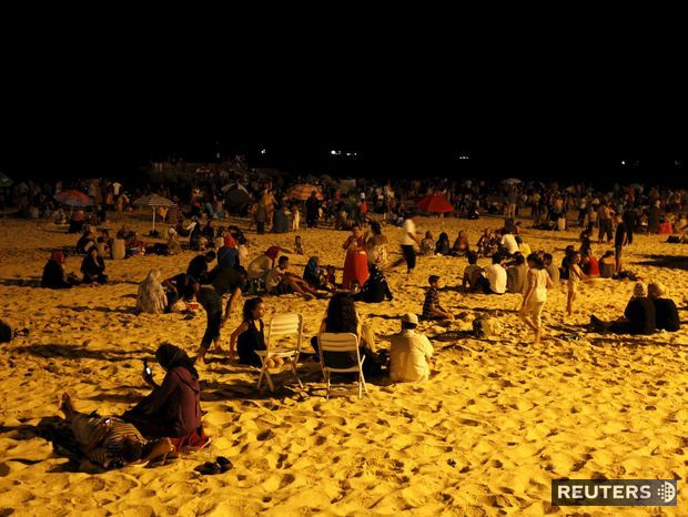 Tunisko, pláž, noc, more, Súsa,