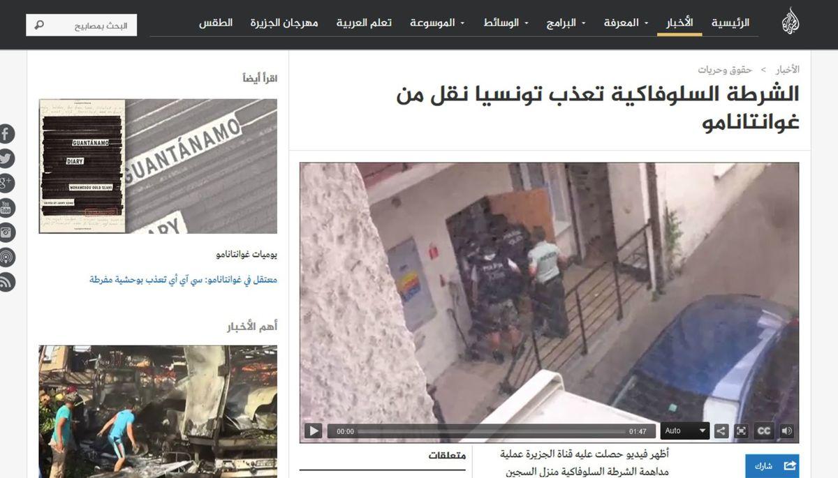 Stránka aljazeera.net priniesla video o zásahu slovenskej polície.