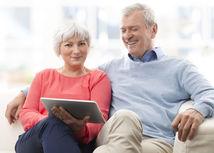 senior, dôchodca, tablet