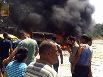 sýria, teroristický útok, útok, výbuch, požiar, plamene,