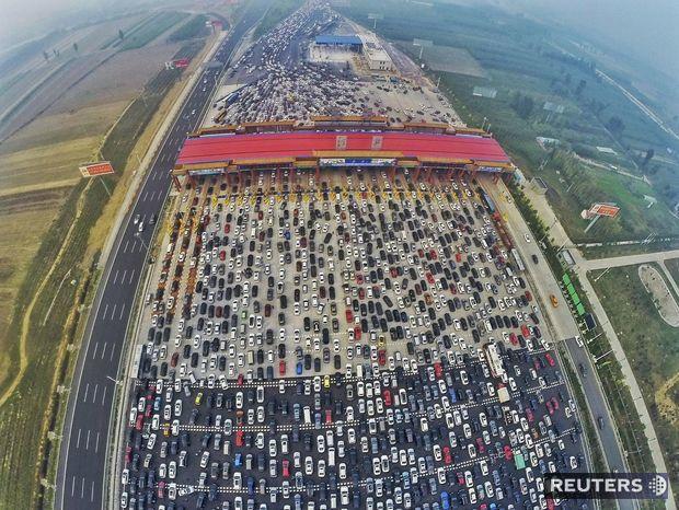 čína, zápcha, cesta, diaľnica, autá, doprava