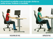 Bez bolesti chrbta, sedenie pri počítači