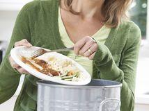jedlo, žena, hrniec, zvyšky jedla, plytvanie