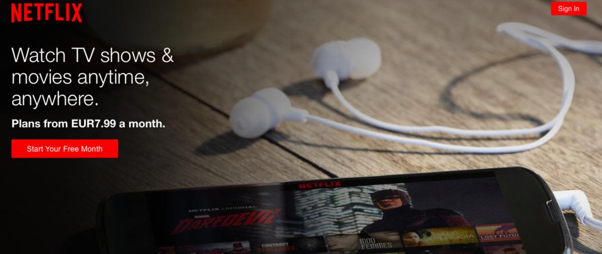 Základné predplatné za službu Netflix začína na 7,99 eurách mesačne.